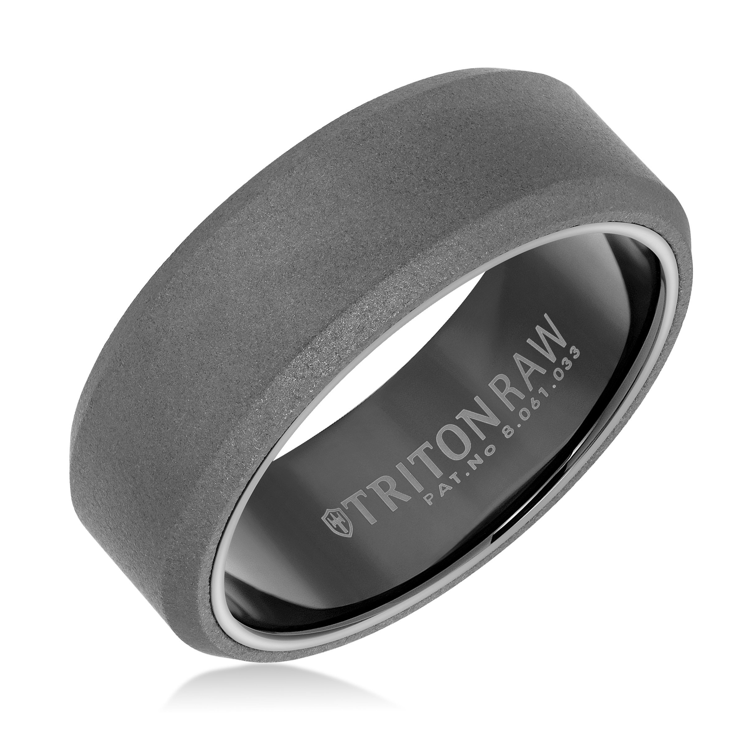 8MM Tungsten Raw Ring - Sanblasted With Black Inside Shine and Flat Edge.